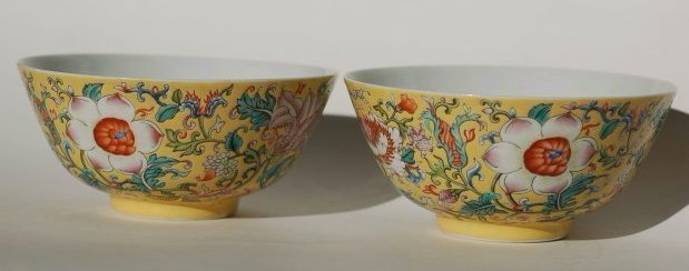 "A pair yellow -grang ""Yangcai"" Lotus bowl,Qianlong mark"