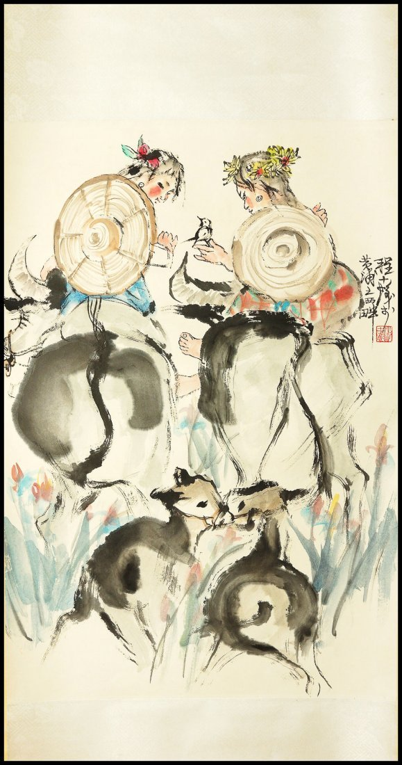 A CHINESE SCROLL PAINTING By
