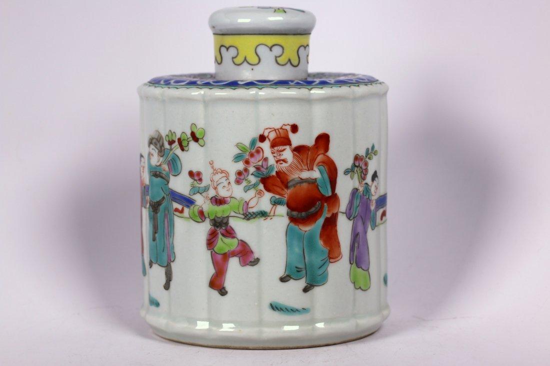A Chinese polychrome porcelain tea caddie,Qin dynasty