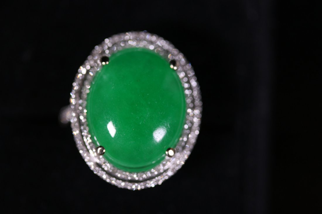 Magnificent Large Jadeite White Gold Ring w/ Diamonds