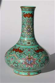 A turquoise-ground famille-rose vase,Qianlong marks
