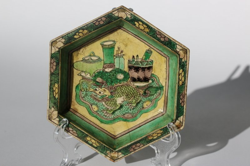 A famille verte enameled porcelain, Qing dynasty