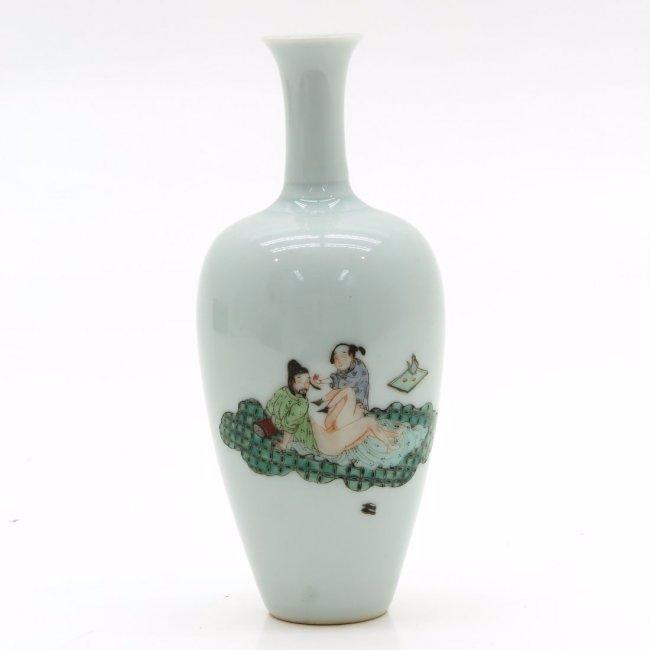 China Porcelain Vase Depicting Erotic Scene,Qing