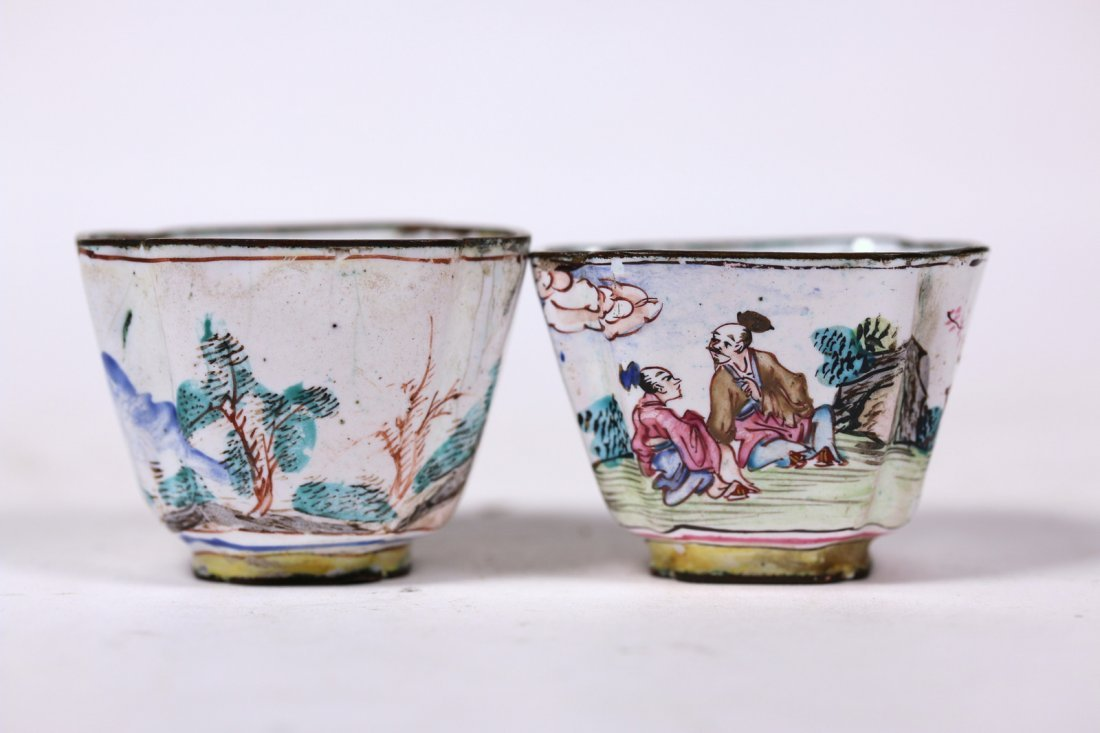 Two Chinese enamel signed cups,Qing dynasty
