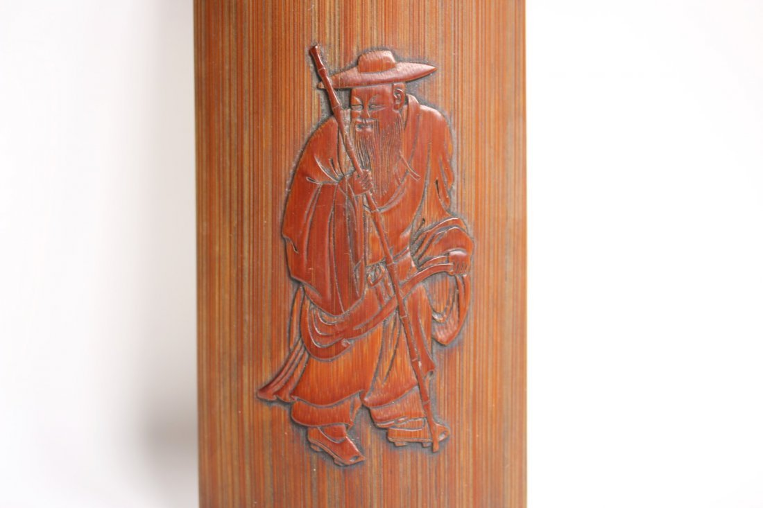 A Chinese bamboo-carved armrest, signed - 3