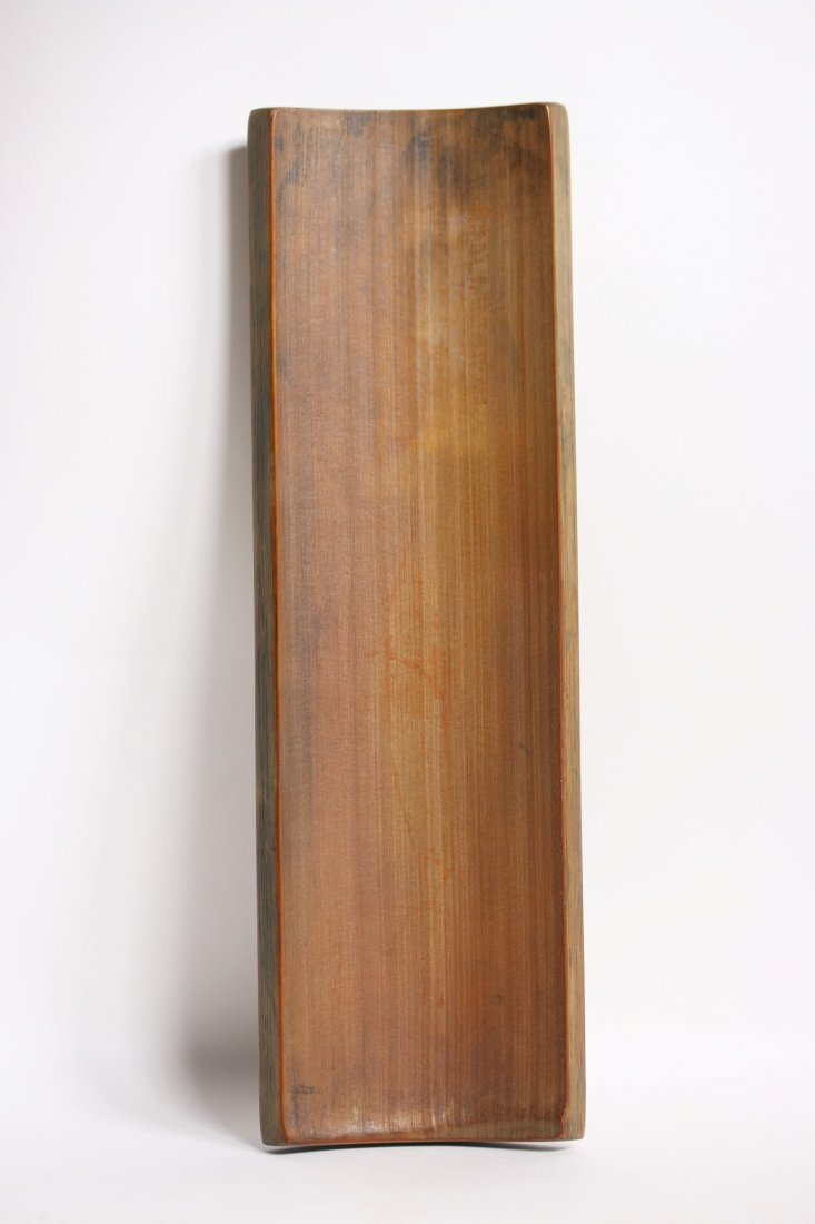 A Chinese bamboo-carved armrest, signed - 4