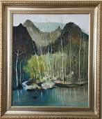 A Chinese oil painting , Attributed to Wu Guanzhong