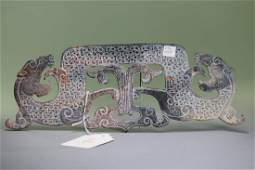 "A altered opque beige-colored openwork""Gragon ""pendant"