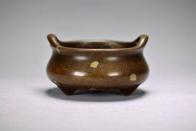 A Cinese Bronze Splash Gold Censor, Qing Dynasty
