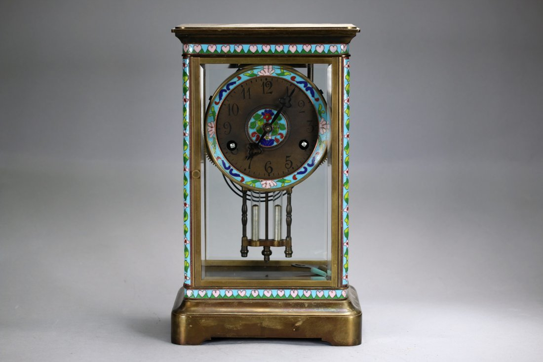 A Chinese table clock with cloisonné enhancement,Qing