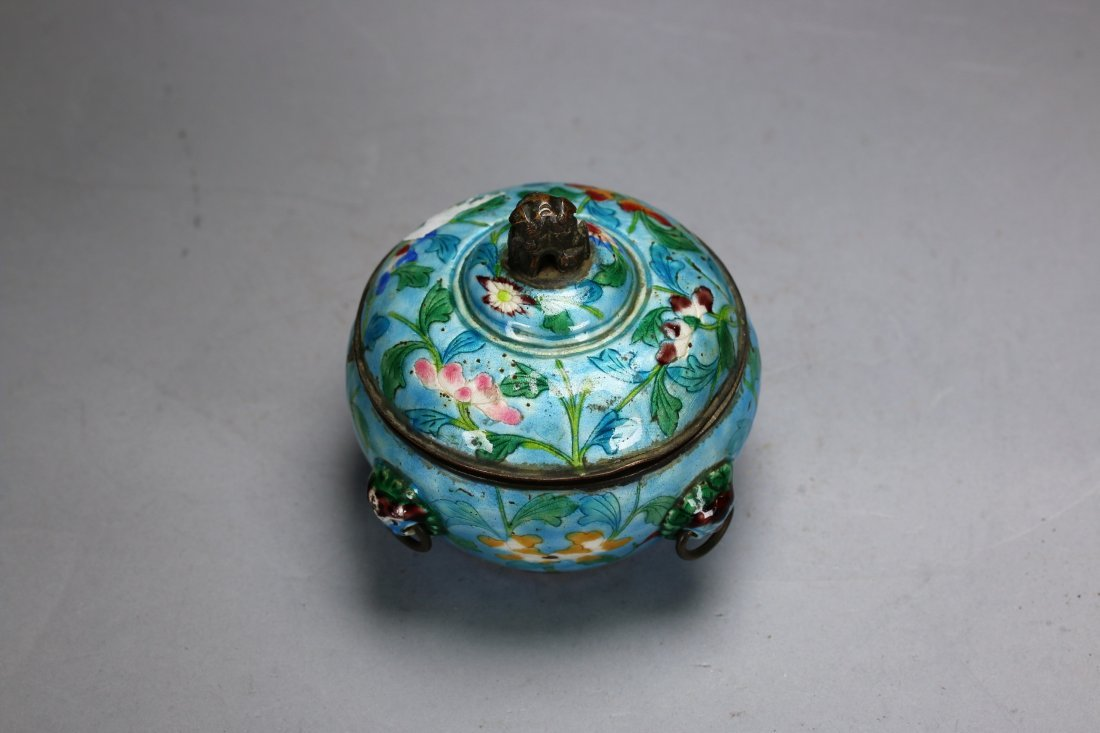 A Chinese Enamel silver pot,late Qing dynasty