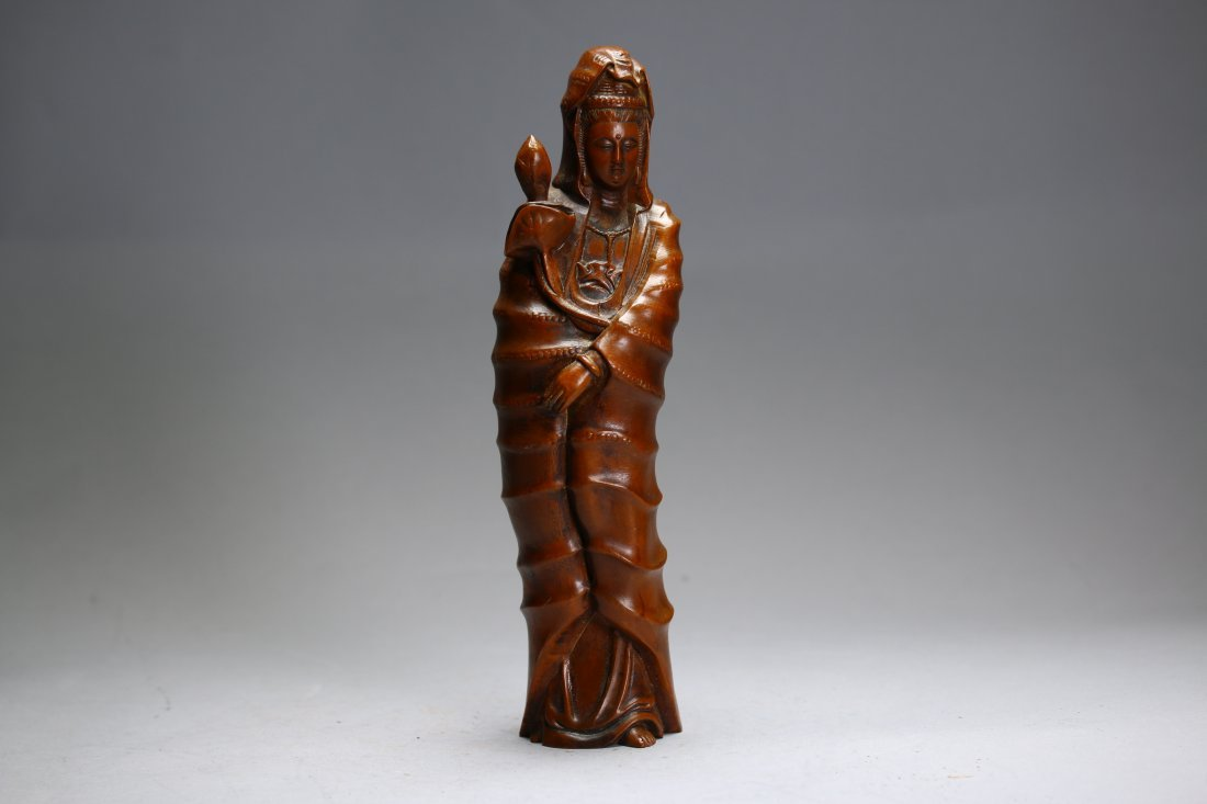 Chinese Carved Bamboo Guanyin Figure