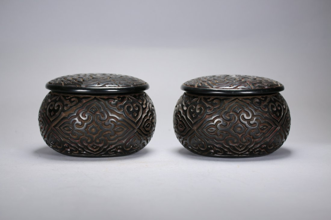 Pair Chinese Lacquer TIXI Box With Cover