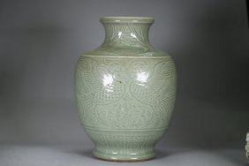 Chinese Celadon Pottery Baluster Vase