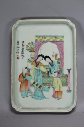 A Chinese Antique Famille Rose Porcelain Platter