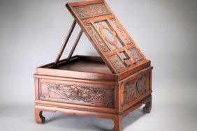 A Chinese Huanghuali Comb Desk, Qing Dynasty.