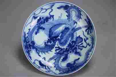 A Fine YONGZHENG Blue & White Porcelain Plate