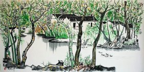 Large Warter colour Painting , Wu Guanzhong signed