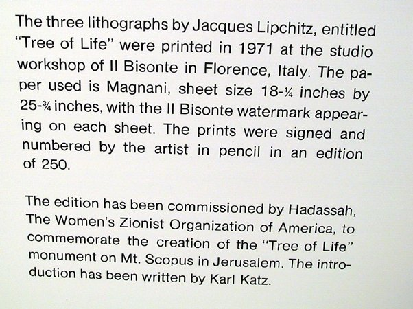 Jacques Lipchitz, Tree of Life , Portfolio of Three - 3