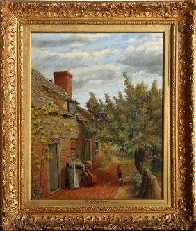 Henry Stannard, The Cottage Garden, Oil Painting