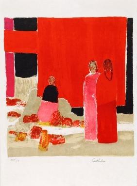 Bernard Cathelin, Three Japanese Ladies, Lithograph