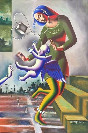 Mark Kostabi, Reaching (Madonna), Oil Painting