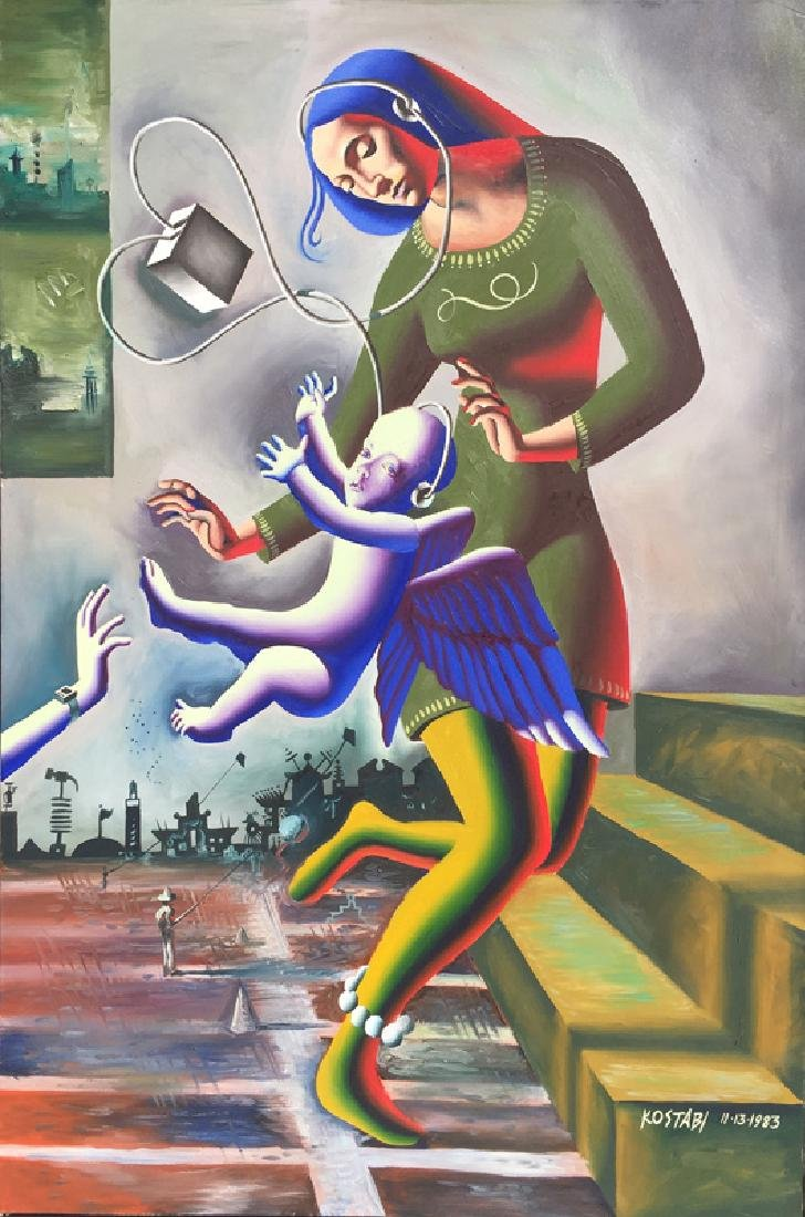 Mark Kostabi, Reaching (Madonna), Oil Painting