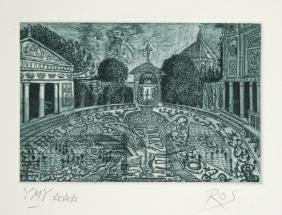 Tighe O'Donoghue, Garden, Aquatint Etching