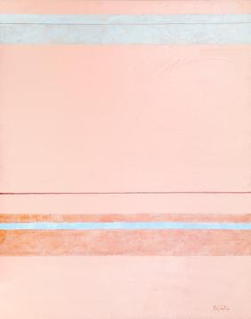Nick Wallis, Parallels on Peach, Acrylic Painting