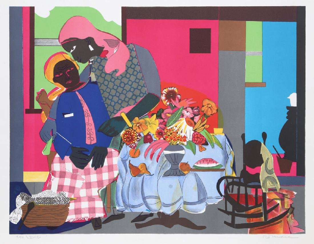 Romare Bearden, Morning, Lithograph