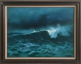 Jorge Braun Tarallo, Crashing Waves, Oil Painting