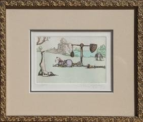 Charles Bragg, Camelot (Catapult), Color Etching