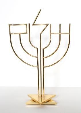 Yaacov Agam, Shalom Menorah, Gold-Plated Kinetic