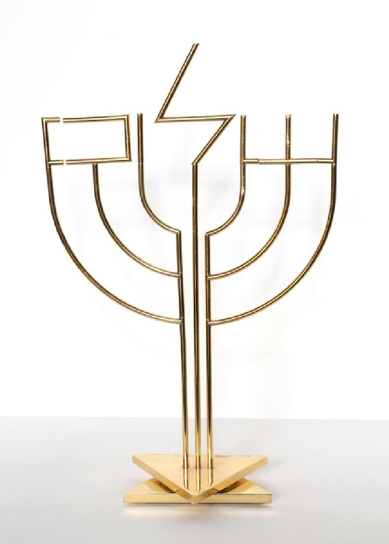 Yaacov Agam, Shalom Menorah, Gold-Plated Kinetic