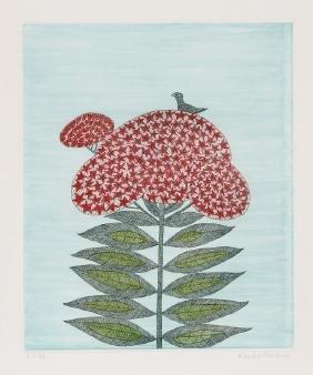 Keiko Minami, Bird on Flower, Aquatint Etching