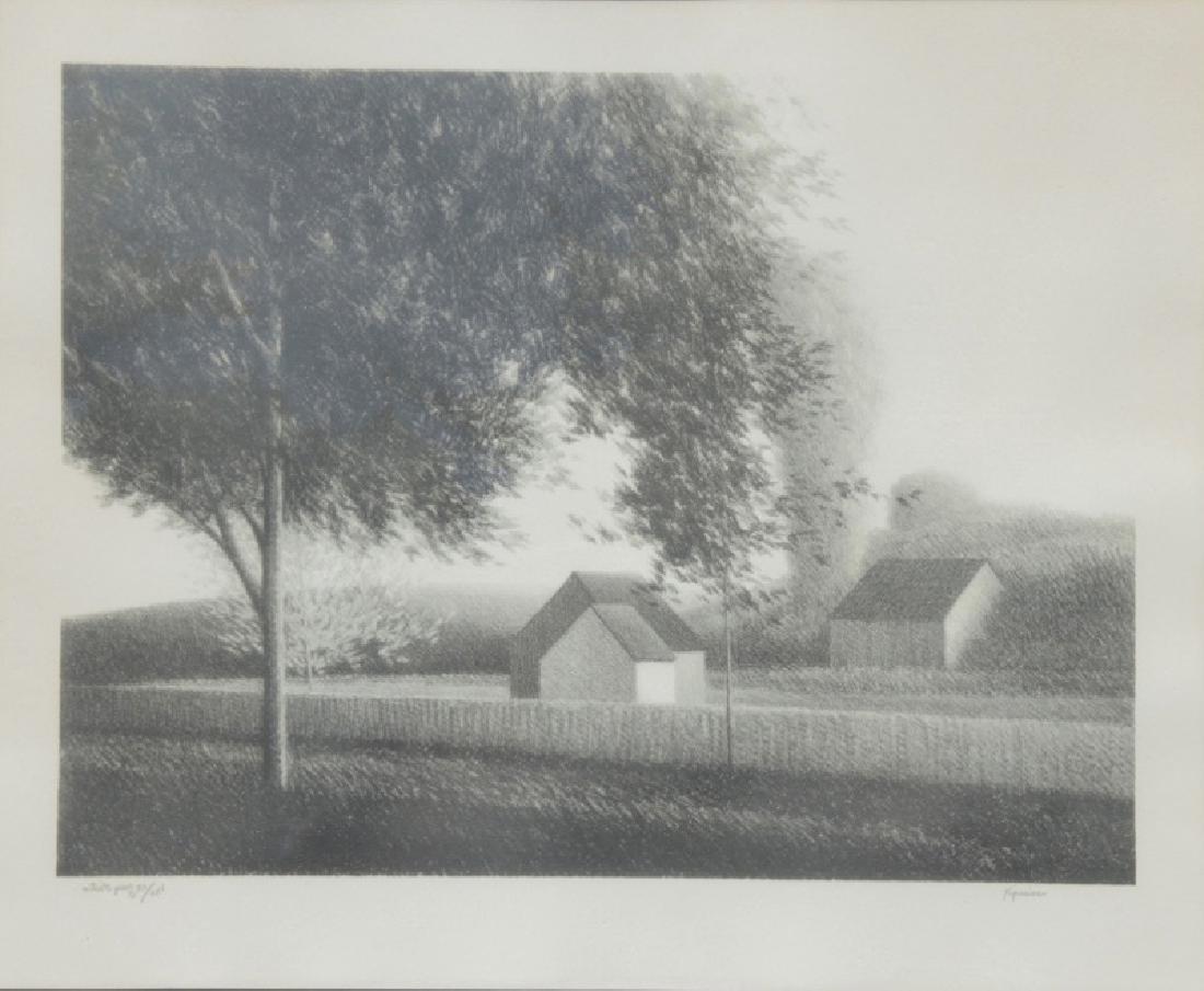 Robert Kipniss, Long Wall and Bushy Tree, Lithograph