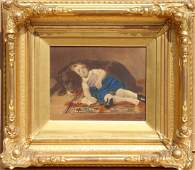 H. Richter, Sleeping Girl with Dog, Hand-Colored Print