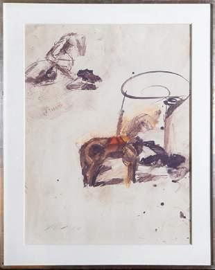Josef Mikl, Holzpferd mit Glas, Oil Painting