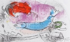 Marc Chagall, Le Poisson Bleu, Lithograph