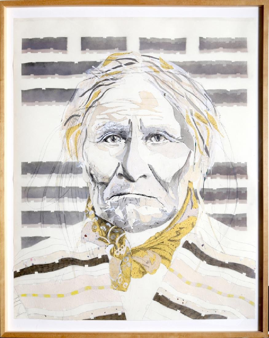 Tomas Lasansky, Geronimo, Pencil Drawing & Collage