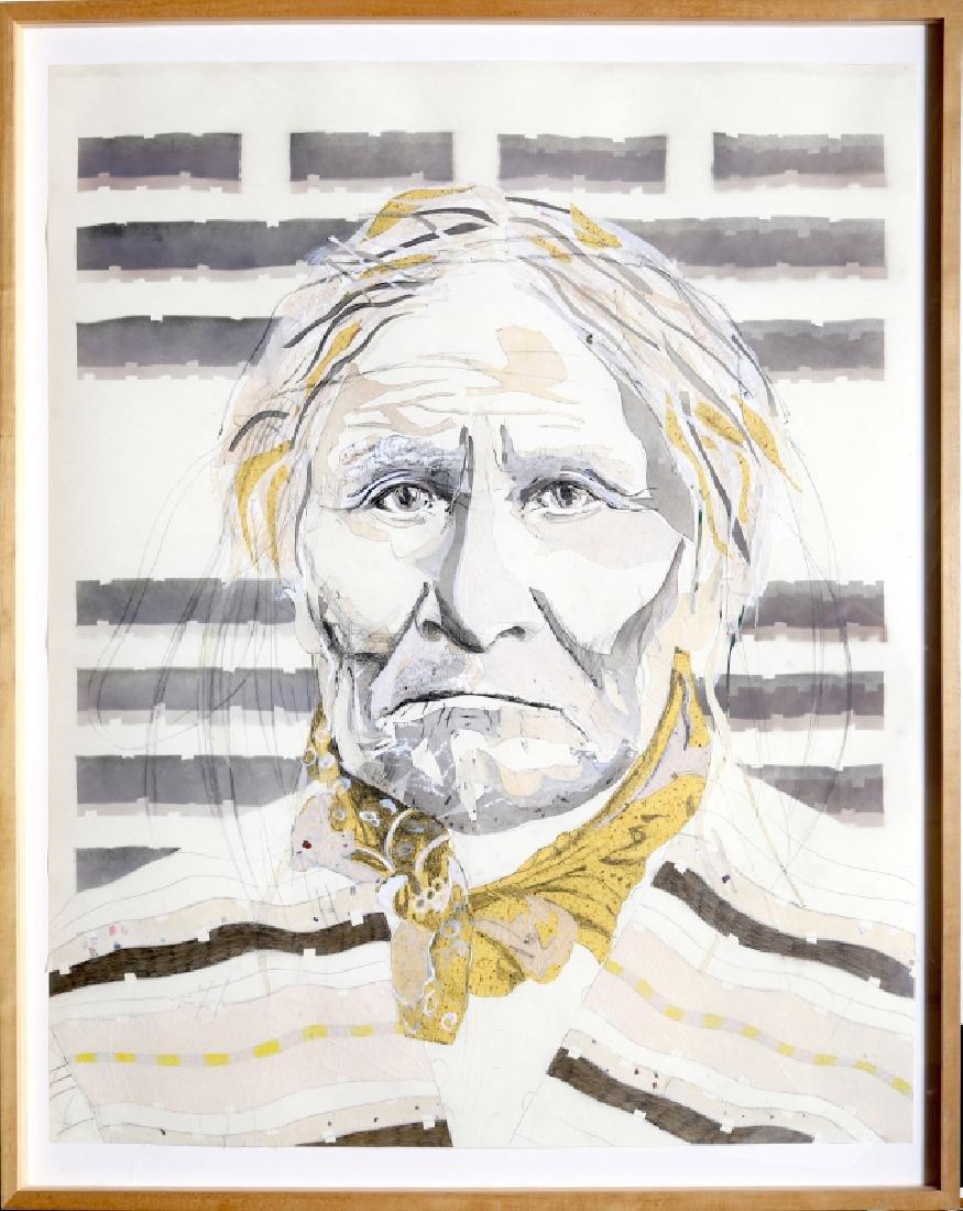 Tomas Lasansky, Geronimo, Pencil Drawing & Collage