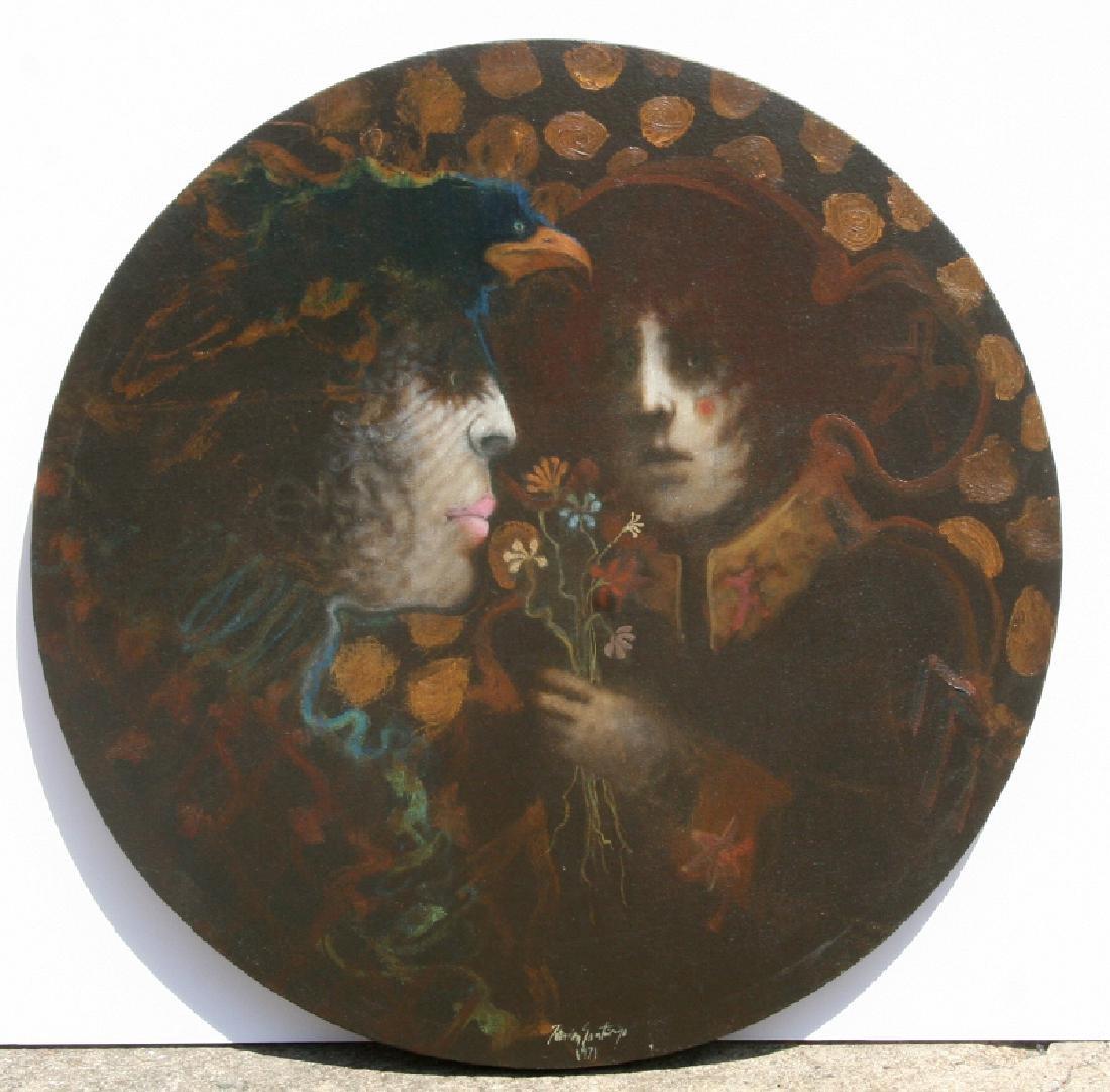 Ramon Santiago, Couple with Bird and Bouquet, Oil