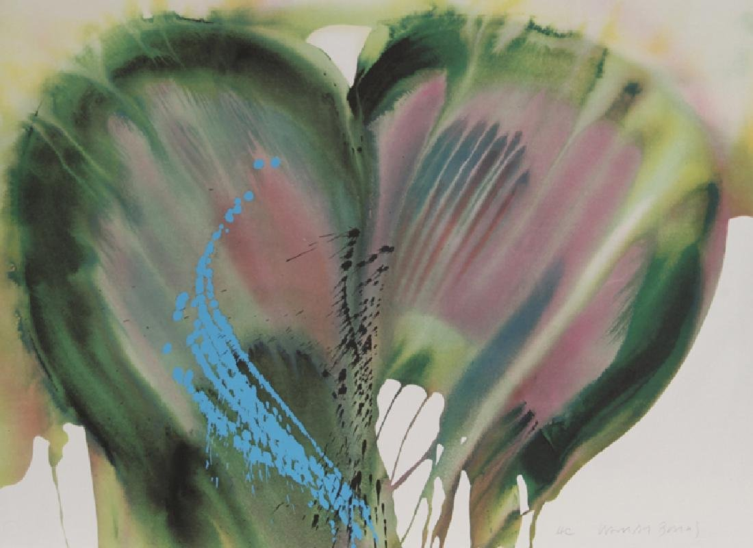 Lamar Briggs, Green and Purple Petals, Lithograph