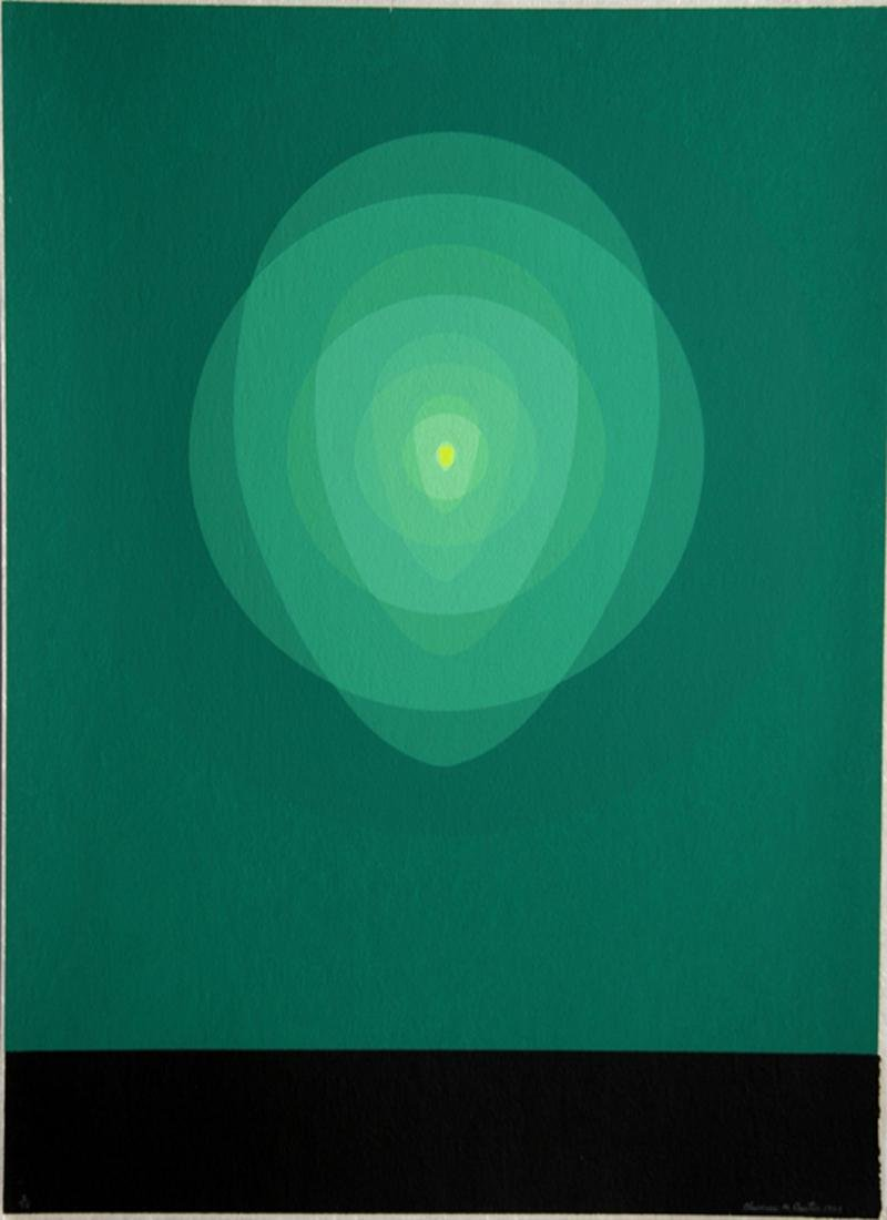 Clarence Holbrook Carter, Green Mandala, Silkscreen,