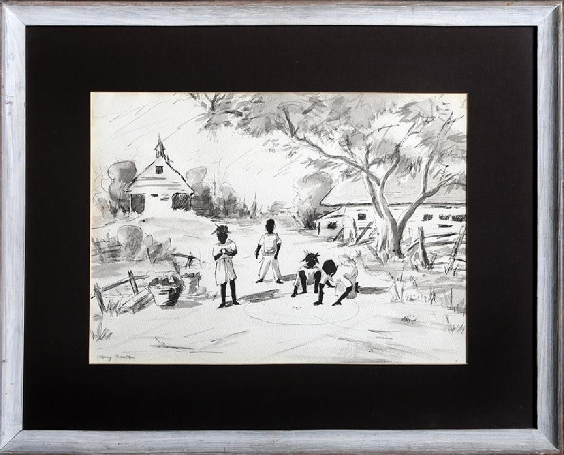 Mary Boulton, Children Playing, Ink and Wash  , signed