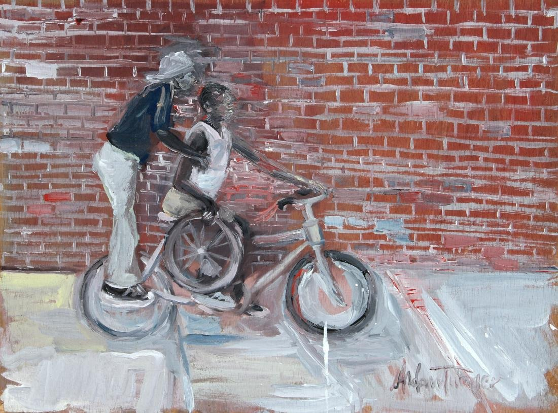 Andrew Turner, Peg Rider, Oil on Wood, signed