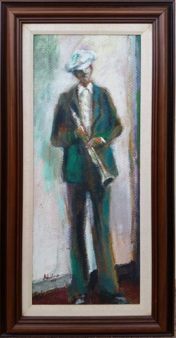 Andrew Turner, Jazzman, Oil Painting, signed