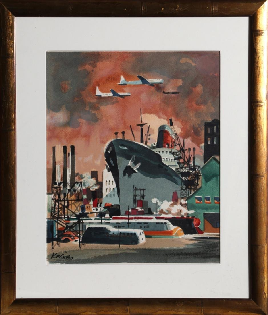 Dong Kingman, Shipyard, Serigraph, signed in the plate