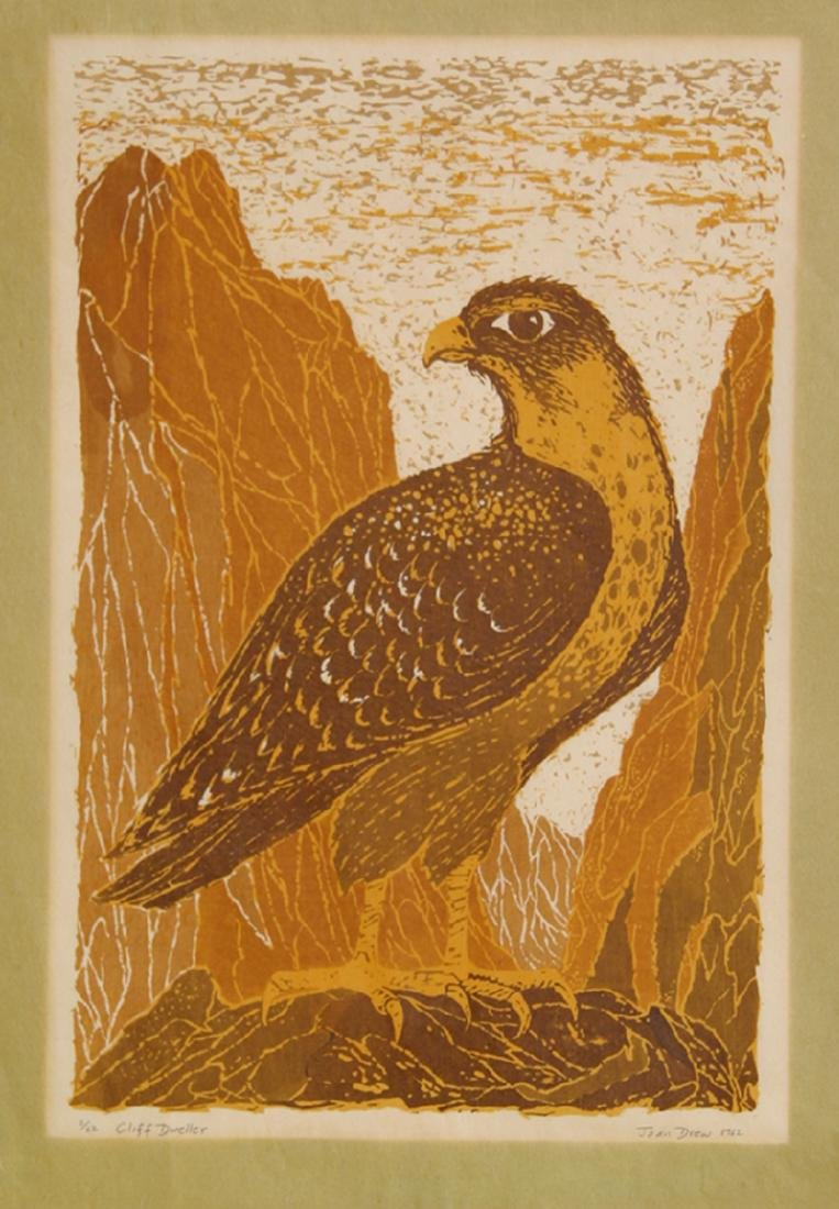 Joan Drew, Cliff Dweller, Woodcut,
