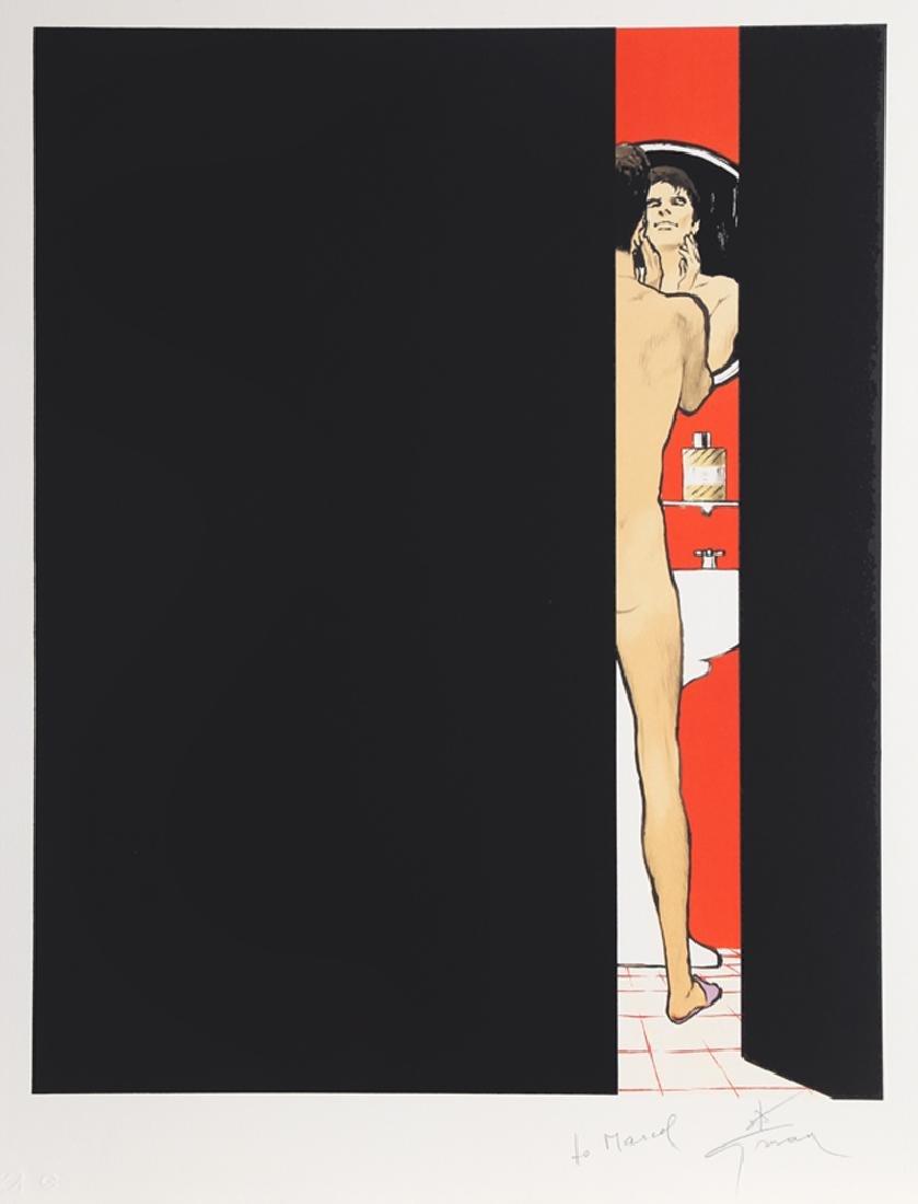 Rene Gruau, Man in Bathroom, Lithograph,